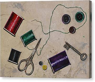 Sewing Notions Canvas Print by Sandy Clift