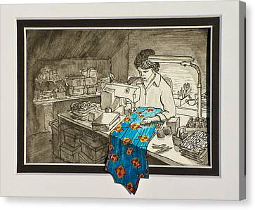 Sewing Overflowing Canvas Print by Vic Delnore