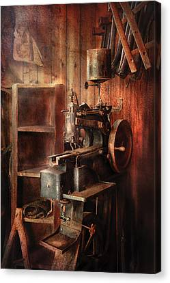 Sewing - Sewing Machine For Saddle Making Canvas Print by Mike Savad