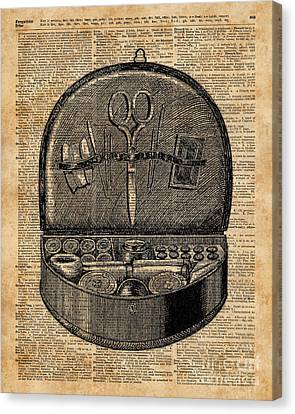 Sewing Tools Dictionary Art Canvas Print by Jacob Kuch