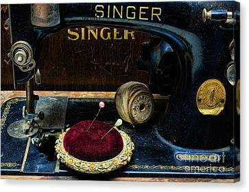 Sewing - Victorian Pin Cushion - Singer Sewing Machine Canvas Print by Paul Ward