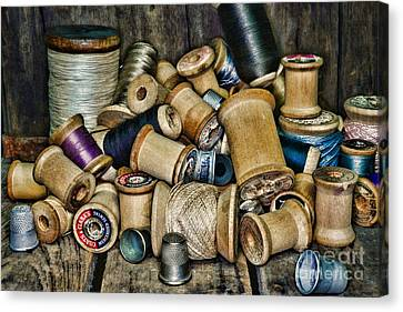 Sewing - Vintage Sewing Spools Canvas Print by Paul Ward