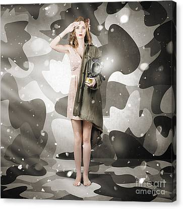Sexy Army Girl Saluting On Snow Camo Background Canvas Print
