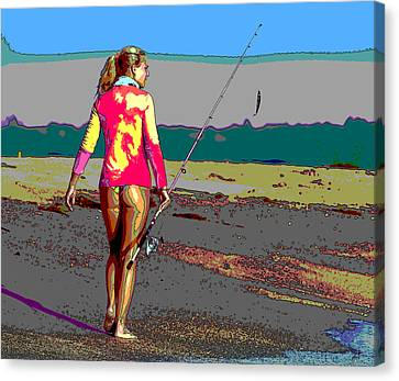 Sexy Lady Going Fishing Canvas Print by Charles Shoup