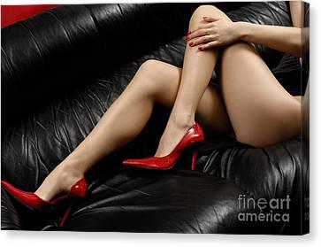 Sexy Long Legs In Red High Heels Canvas Print by Oleksiy Maksymenko