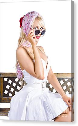 Youthful Canvas Print - Sexy Pinup Girl by Jorgo Photography - Wall Art Gallery