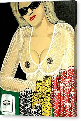 Sexy Poker Girl Canvas Print by Teo Alfonso