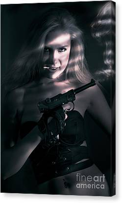 Hiding Canvas Print - Sexy Woman Assassin by Jorgo Photography - Wall Art Gallery