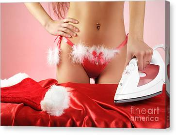 Sexy Woman Preparing For Christmas Holidays Canvas Print by Oleksiy Maksymenko
