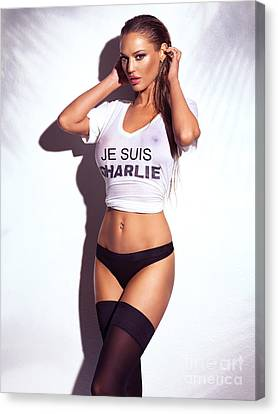 Sexy Young Woman In Wet Je Suis Charlie Shirt And Lingerie Charlie Riina Canvas Print