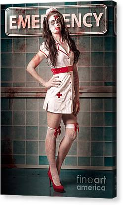 Sexy Zombie Medical Emergency Nurse In Hospital Er Canvas Print