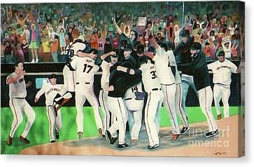 Sf Giants 2010 World Series Championship Celebration Canvas Print by Pete  TSouvas