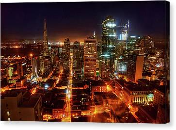 Canvas Print featuring the photograph Sf Gotham City by Peter Thoeny