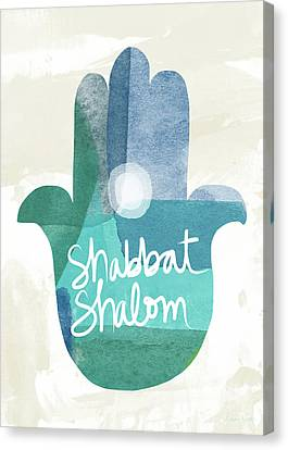 Shabbat Shalom Hamsa- Art By Linda Woods Canvas Print by Linda Woods