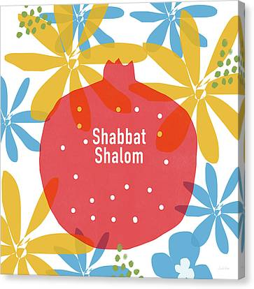 Shabbat Shalom Pomegranate- Art By Linda Woods Canvas Print