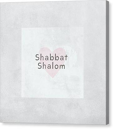 Jewish Canvas Print - Shabbat Shalom Soft Heart- Art By Linda Woods by Linda Woods