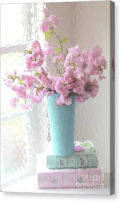 Shabby Chic Cottage Pink Blossoms - Impressionistic Shabby Chic Dreamy Pink Blossoms Floral Fine Art Canvas Print by Kathy Fornal