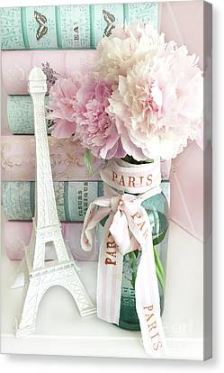 Parisian Cottage Pink Peonies With Eiffel Tower And Books - Shabby Cottage Peony Eiffel Tower Art Canvas Print