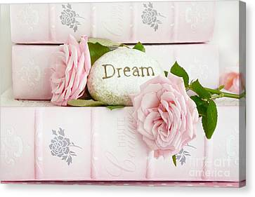 Shabby Chic Cottage Pink Roses On Pink Books - Romantic Inspirational Dream Roses  Canvas Print
