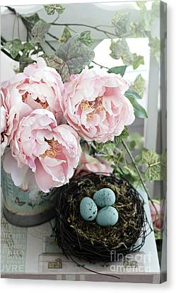 Shabby Chic Peonies With Bird Nest Robins Eggs - Summer Garden Peonies Canvas Print by Kathy Fornal