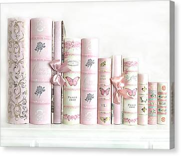 Canvas Print featuring the photograph Shabby Chic Pink Books Collection - Paris Pink Books Art Prints Home Decor by Kathy Fornal
