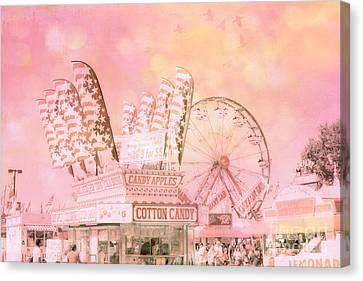 Shabby Chic Pink Carnival Art - Cotton Candy Pink Carnival Ferris Wheel Prints Canvas Print by Kathy Fornal