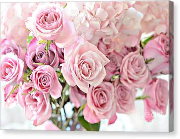 Shabby Chic Pink Pastel Roses - Romantic Cottage Pink Pastel Roses Floral Decor Canvas Print by Kathy Fornal
