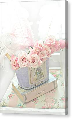 Shabby Chic Pink Roses On Paris Books - Romantic Dreamy Floral Roses In Bucket Canvas Print by Kathy Fornal