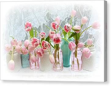 Shabby Chic Pink Tulips - Romantic Cottage Pink Aqua White Tulips Mason Jars Canvas Print by Kathy Fornal