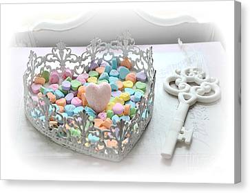 Shabby Chic Romantic Candy Hearts With White Key - Romantic Valentine Candy Hearts  Canvas Print by Kathy Fornal