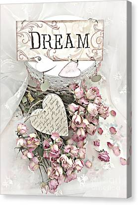 Canvas Print featuring the photograph Shabby Chic Romantic Dream Valentine Roses - Romantic Dreamy Roses Valentine Hearts by Kathy Fornal