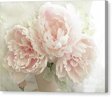 Shabby Chic Romantic Pastel Pink Peonies Floral Art - Pastel Peonies Home Decor Canvas Print by Kathy Fornal