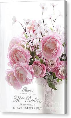 Shabby Chic Romantic Pink Pastel Peonies With French Script - Paris French Pink Peonies In Vase Canvas Print
