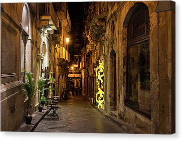 Shabby Chic - Small Street Night Walk In Syracuse Sicily Canvas Print