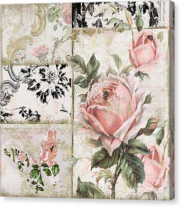 Shabby Pink Tea Roses Canvas Print by Mindy Sommers