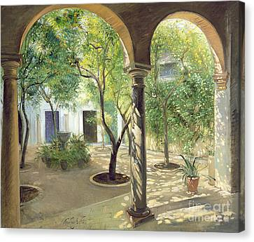 Shaded Courtyard, Vianna Palace, Cordoba Canvas Print by Timothy Easton