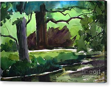 Shaded Mirror On Mississinew River Matted Glassed Farmed Canvas Print by Charlie Spear