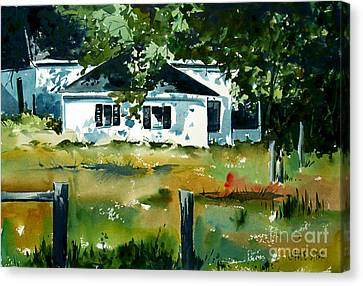 Canvas Print featuring the painting Shaded Porch by Charlie Spear
