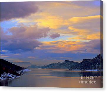 Shades Of Lake Sunsets-1 Canvas Print by Diane M Dittus
