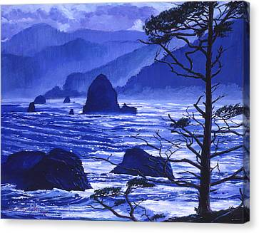 Shades Of Pacific Blue Canvas Print by David Lloyd Glover