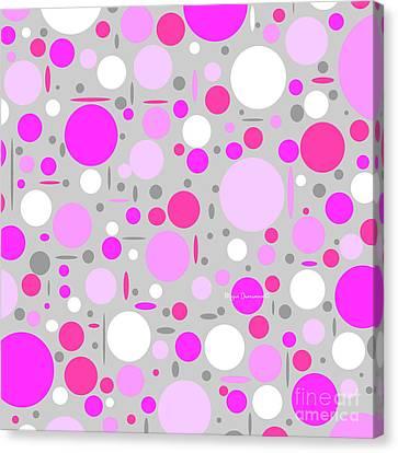 Shades Of Pink And Gray Polka Dot Pattern By Megan Duncanson Canvas Print