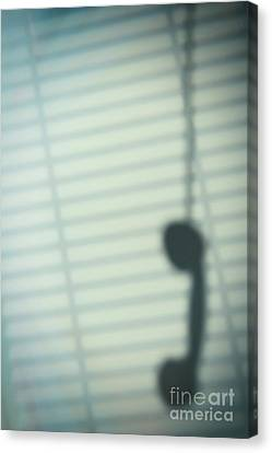 Venetian Blinds Canvas Print - Shadow Of Hanging Phone Receiver by Amanda Elwell
