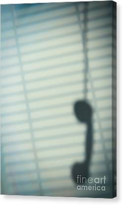 Venetian Blinds Canvas Print - Shadow Of Telephone Receiver by Amanda Elwell