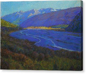 Shadow On The Rees Canvas Print by Terry Perham