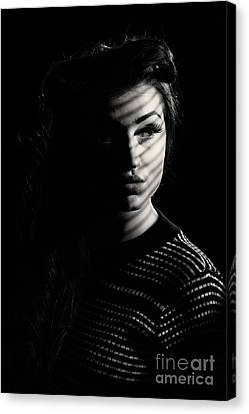 Shadow Over Womans Face Canvas Print by Amanda Elwell