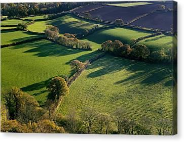 Shadows Across Fields, Devon, Uk Canvas Print by Dr Keith Wheeler
