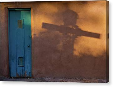 Historic Architecture Canvas Print - Shadows Adobe Wall by Steve Gadomski