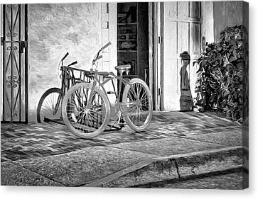 Wrought Iron Bicycle Canvas Print - Shadows And Bike - Black And White by Nikolyn McDonald