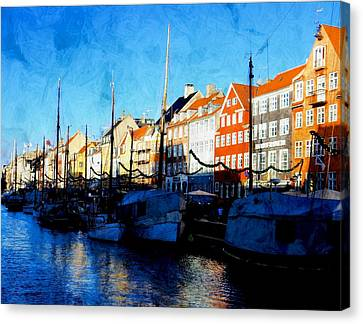 Shadows At Nyhavn Canvas Print by Dorothy Berry-Lound