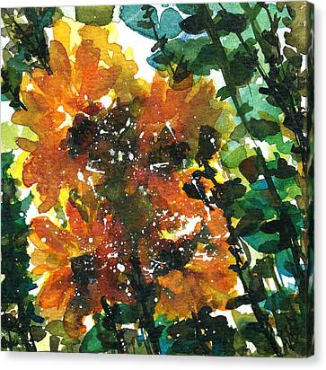 Shadows Of Sunflowers Canvas Print by Garima Srivastava
